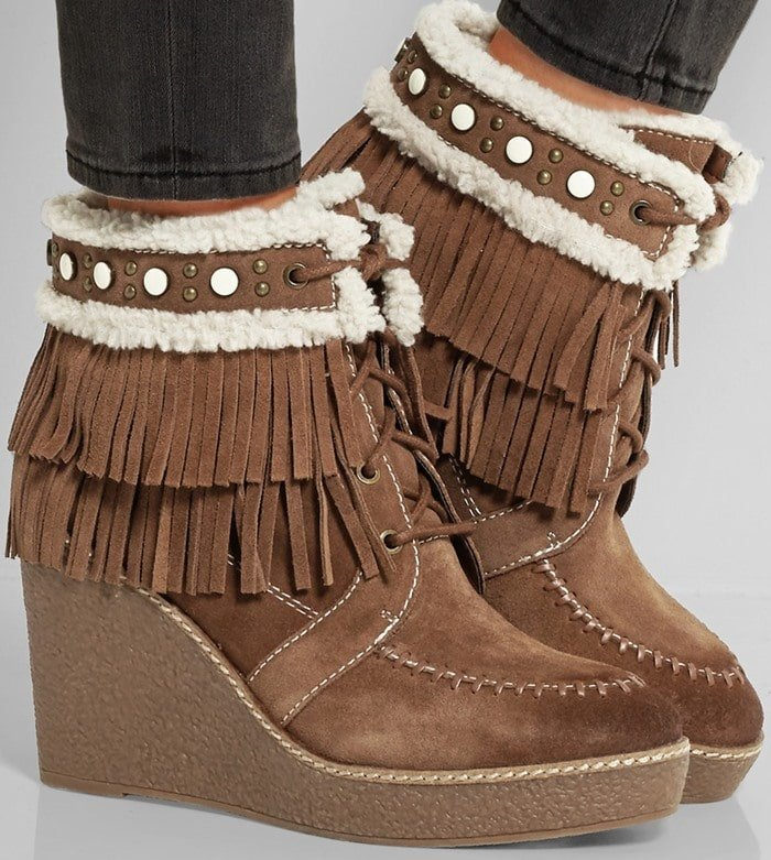 Sam Edelman Kemper faux shearling-lined fringed suede wedge boot