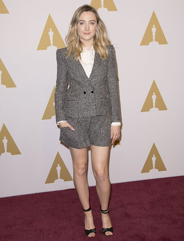 Saoirse Ronan wears a two-piece Laura Basci ensemble on the red carpet