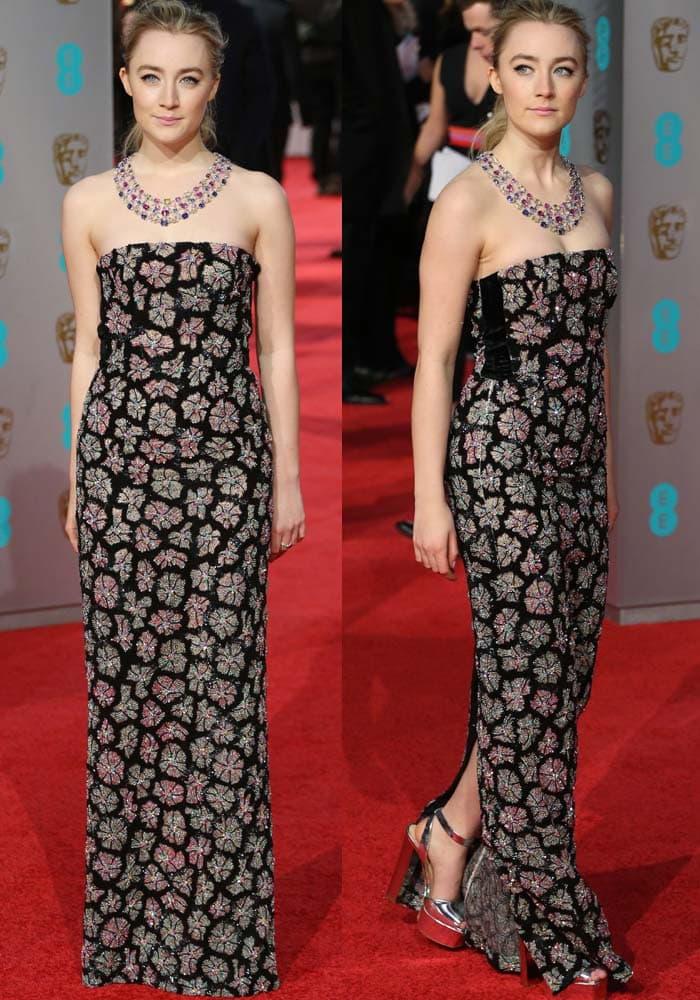 3d5914f071e Saoirse Ronan Attends BAFTAs in Giuseppe Zanotti  Lavinia  Pumps