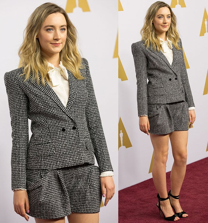 Saoirse Ronan keeps it professional in a two-piece short suit and strappy black heels