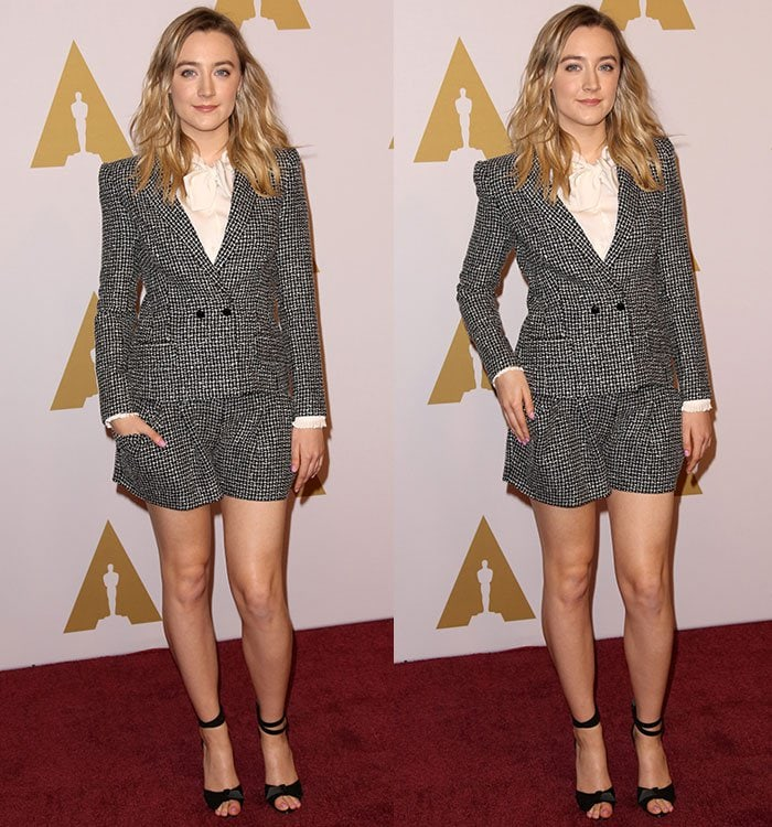 Saoirse Ronan shows off her legs in a Laura Basci short suit at the Oscars' Nominees Luncheon