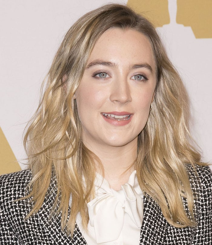 Saoirse Ronan wears her hair down at the 88th Annual Academy Awards Nominee Luncheon