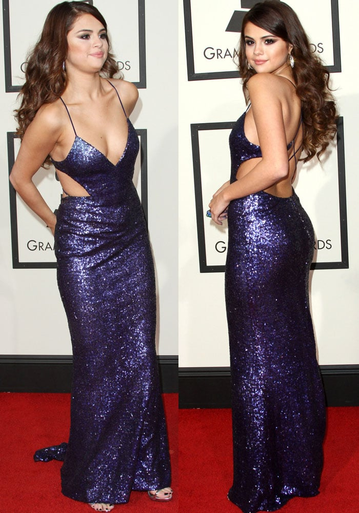Selena Gomez revealed cleavage in a glittering Calvin Klein dress