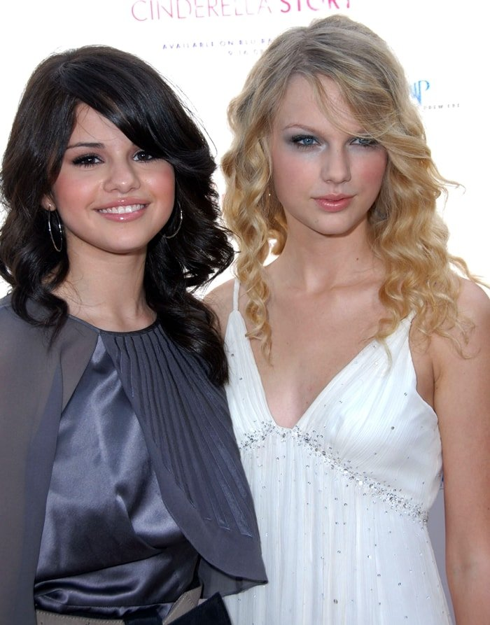 "Taylor Swift and Selena, pictured at the premiere of ""Another Cinderella Story"" on September 14, 2008, first met in 2008 when they were dating Joe and Nick Jonas"