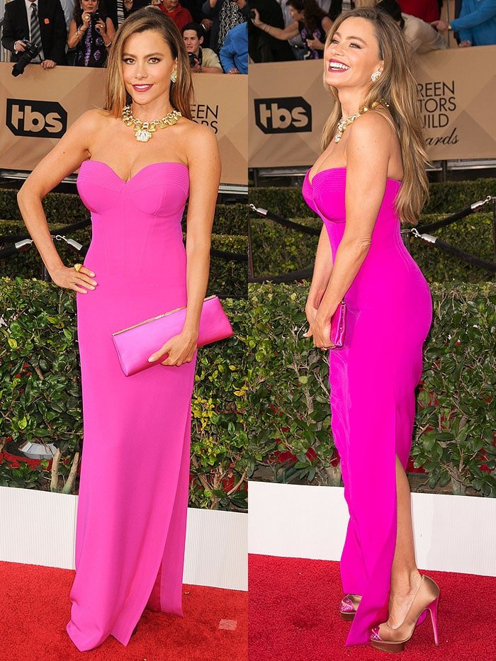 Sofia Vergara wearing a fuchsia pink Vera Wang strapless gown on the red carpet of the SAG Awards
