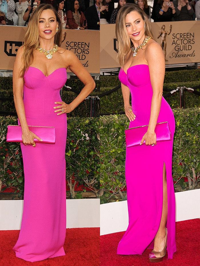 Sofia Vergara matches her pink Vera Wang dress to a pink Jimmy Choo clutch