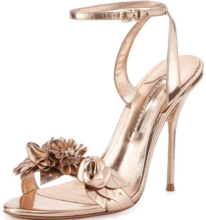Sophia Webster 'Lilico' Floral Leather Sandal in Rose Gold