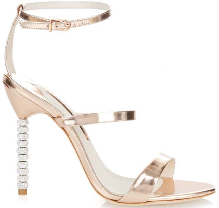 Sophia Webster 'Rosalind' Crystal-Embellished Metallic Leather Sandals