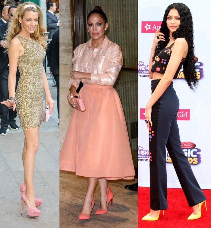 Blake Lively arriving at the 2014 CFDA Fashion Awards in New York on March 6, 2014 in light pink suede platform pumps/Jennifer Lopez at the UN Foundation's gender equality event in Manhattan on September 25, 2015 in some towering Christian Louboutins/Zendaya Coleman at the 2015 Radio Disney Music Awards held at Nokia L.A. Live in Los Angeles on April 25, 2015 in some spunky Christian Louboutin pumps