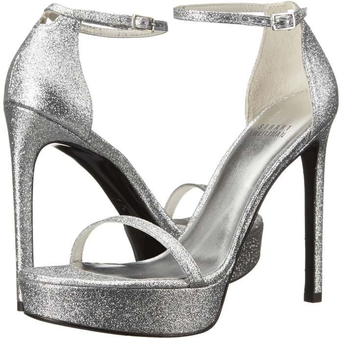 Stuart Weitzman 'Nudist' Platform Heels in Silver Glitter