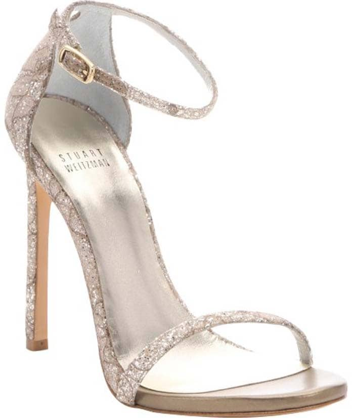 Stuart Weitzman Quartz Sugar Lace and Glitter 'Nudist' Stiletto Sandals