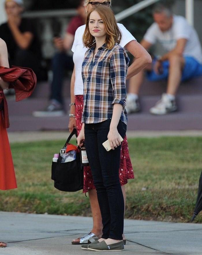 Emma Stone wearing TOMS on the set of 'La La Land'