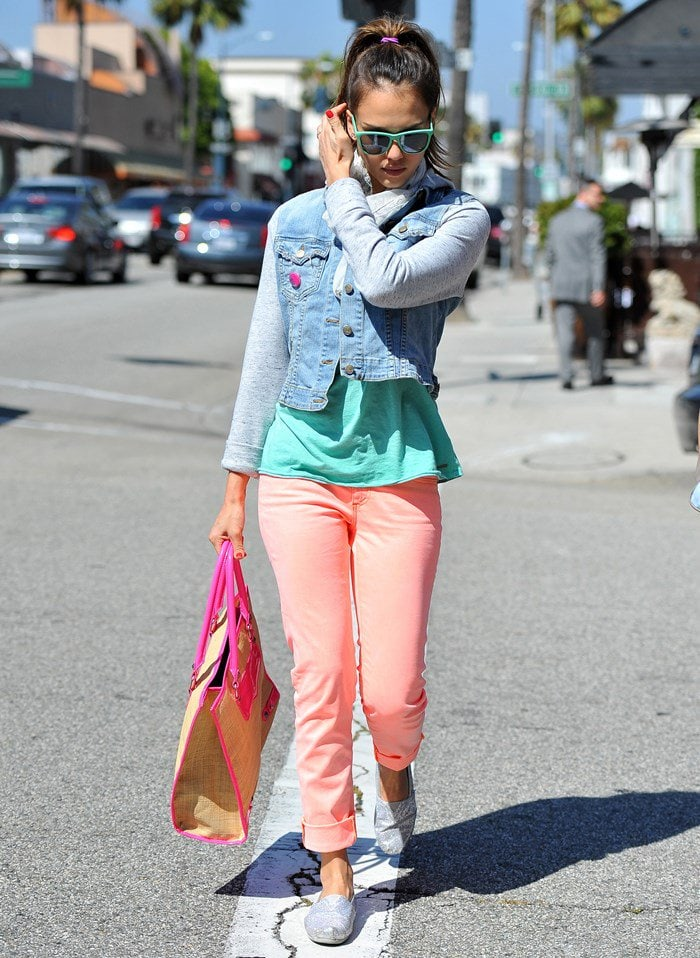 Jessica Alba wearing TOMS in Beverly Hills