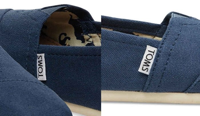 "Fake TOMS often have ""Made in China"" printed on their tags"