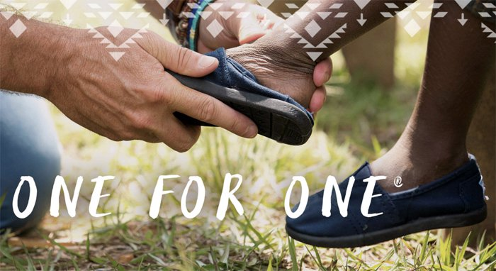 For every pair of shoes you purchase, TOMS will give a pair to a child in need