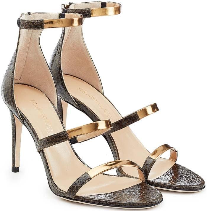 Tamara Mellon 'Intense' Watersnake & Metallic Leather Sandals