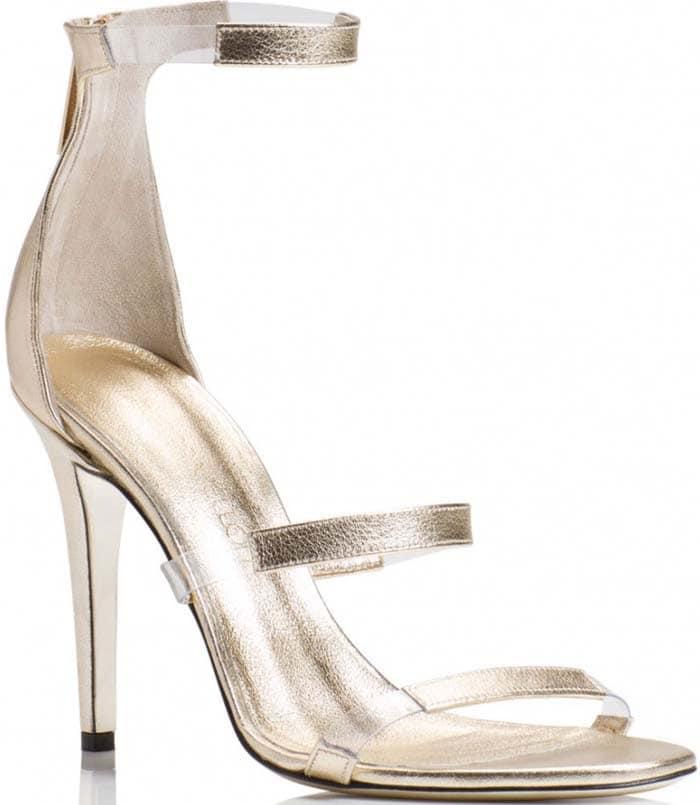Tamara Mellon 'Frontline' Metallic Nappa Sandals