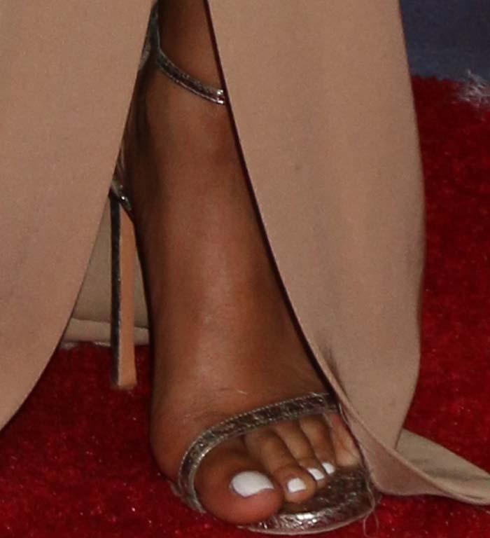 Taraji P. Henson's feet in metallic Stuart Weitzman heels