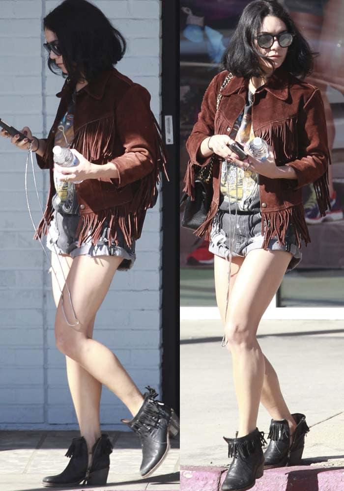 Vanessa Hudgens Nails Fringed Boots 2