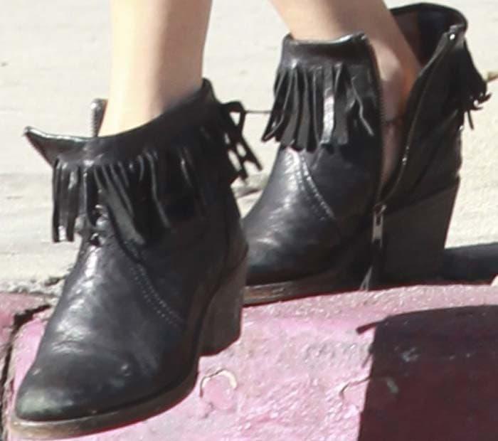 Vanessa Hudgens Nails Fringed Boots 3