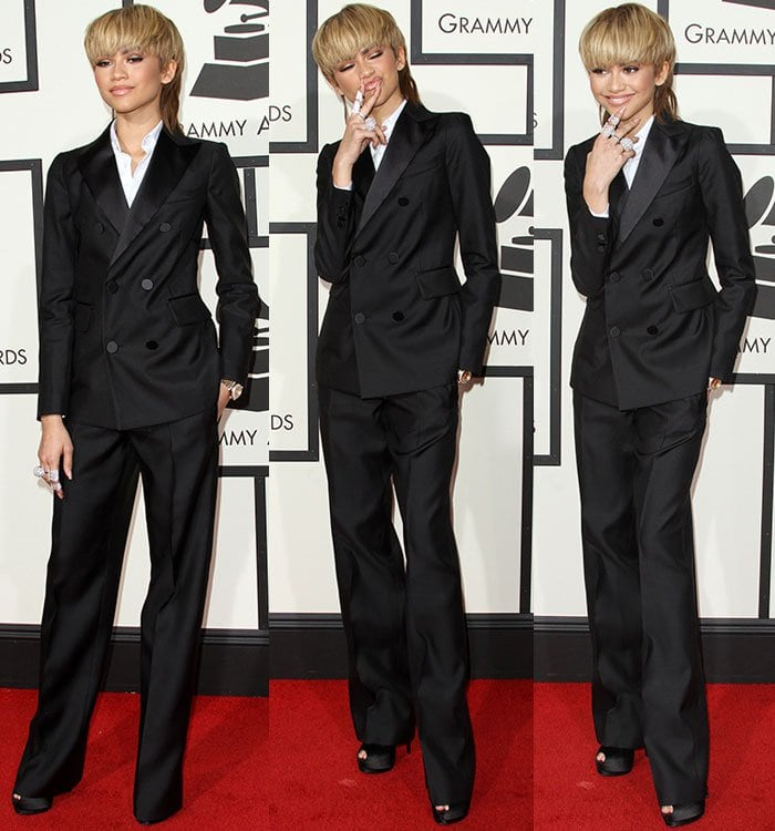 Zendaya-DSquared2-black-suit-Grammy-Awards-1