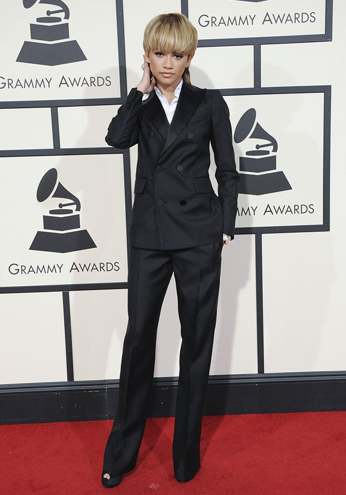 Zendaya-DSquared2-black-suit-Grammy-Awards