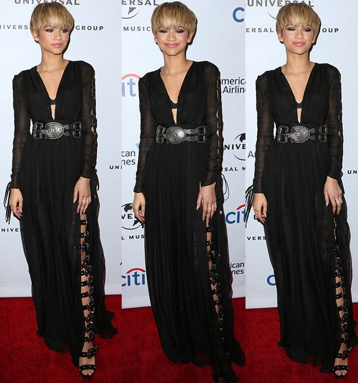 Zendaya-Fausto-Puglisi-black-sheer-dress-gladiator-sandals