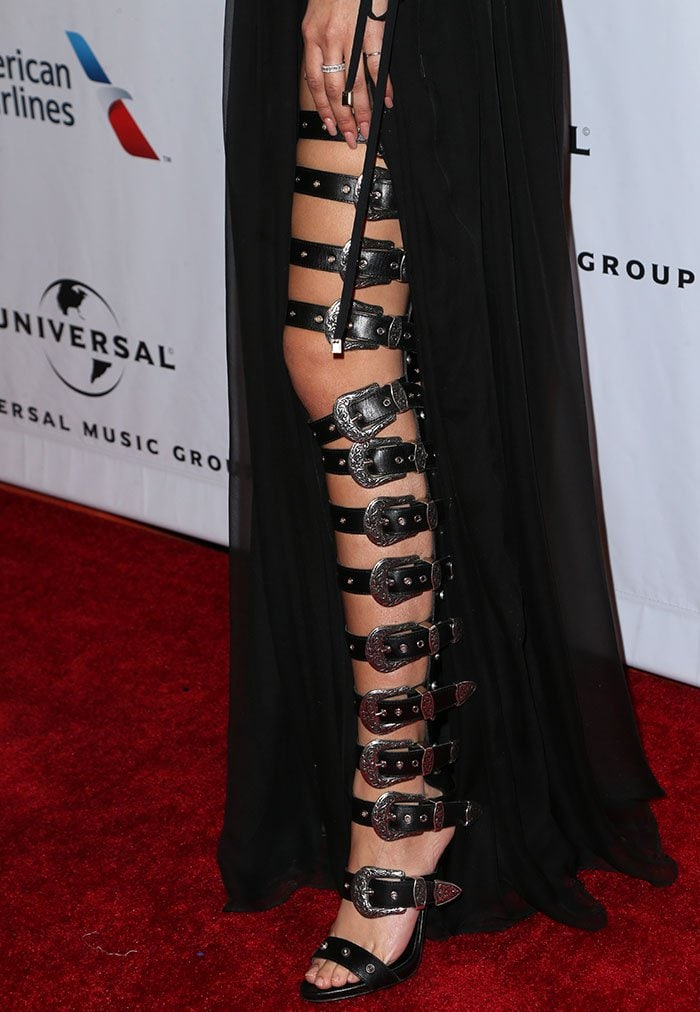 Zendaya-Fausto-Puglisi-strappy-buckled-belt-gladiator-sandals