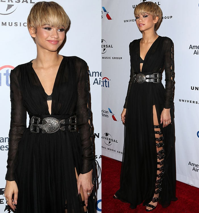 Zendaya-sheer-chiffon-plunging-black-dress-thigh-split