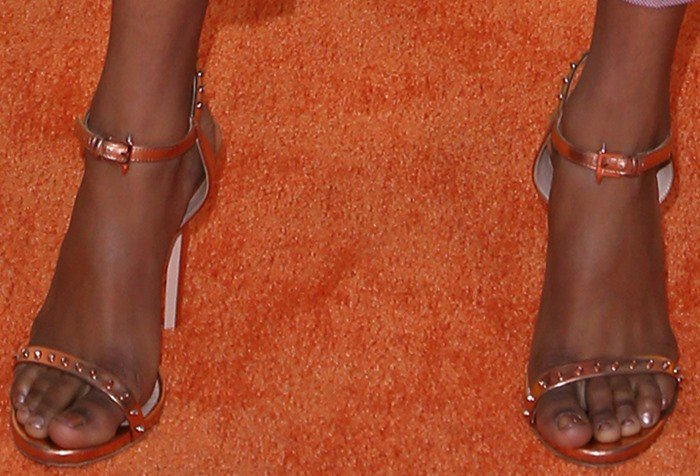 Skai Jackson in Ruthie Davis 'Paris' Leather Platform Sandals