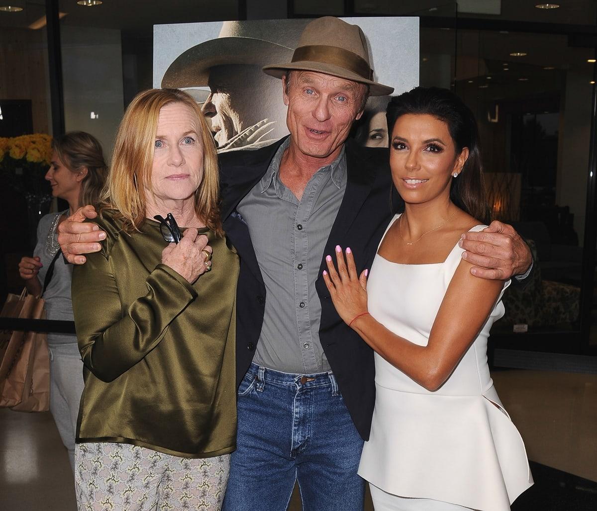 "Amy Madigan, Ed Harris, and Eva Longoria attend the premiere of ""Frontera"""