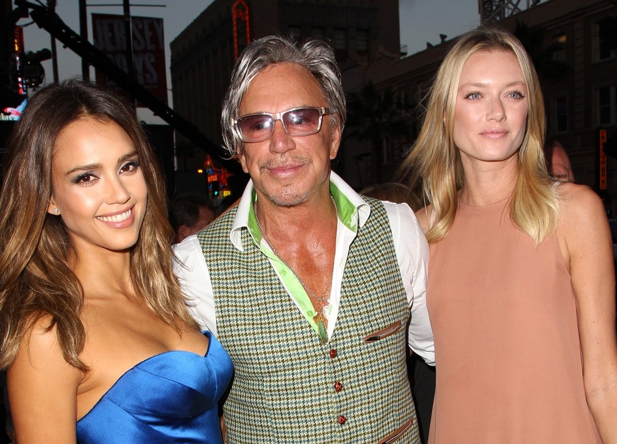 """Model Anastassija Makarenko, actors Mickey Rourke and Jessica Alba attend the premiere of Dimension Films' """"Sin City: A Dame To Kill For"""""""