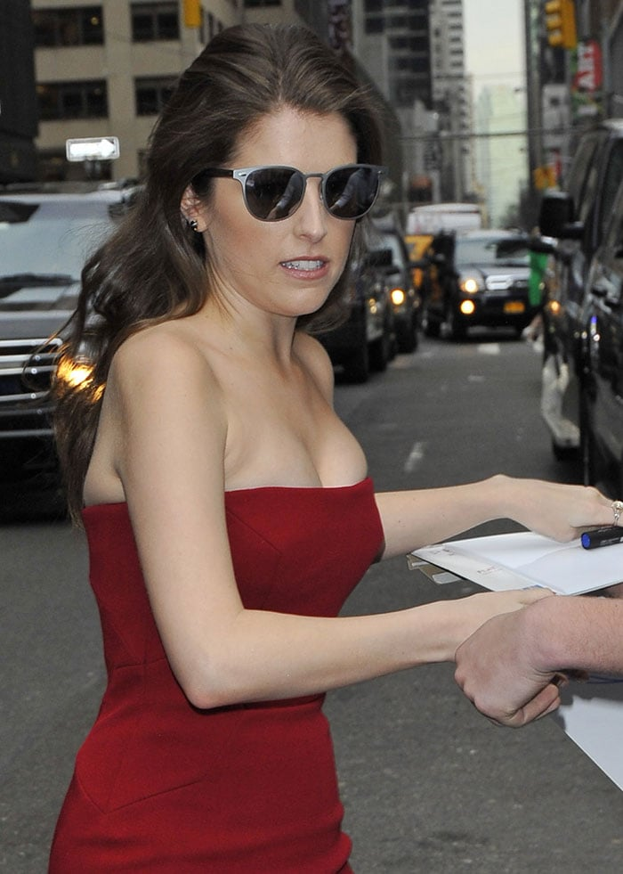 Anna Kendrick wore her brunette hair in loose waves