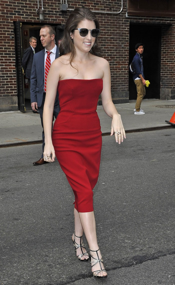 "Anna Kendrick arriving at the Ed Sullivan Theater for an appearance on ""The Late Show with Stephen Colbert"""