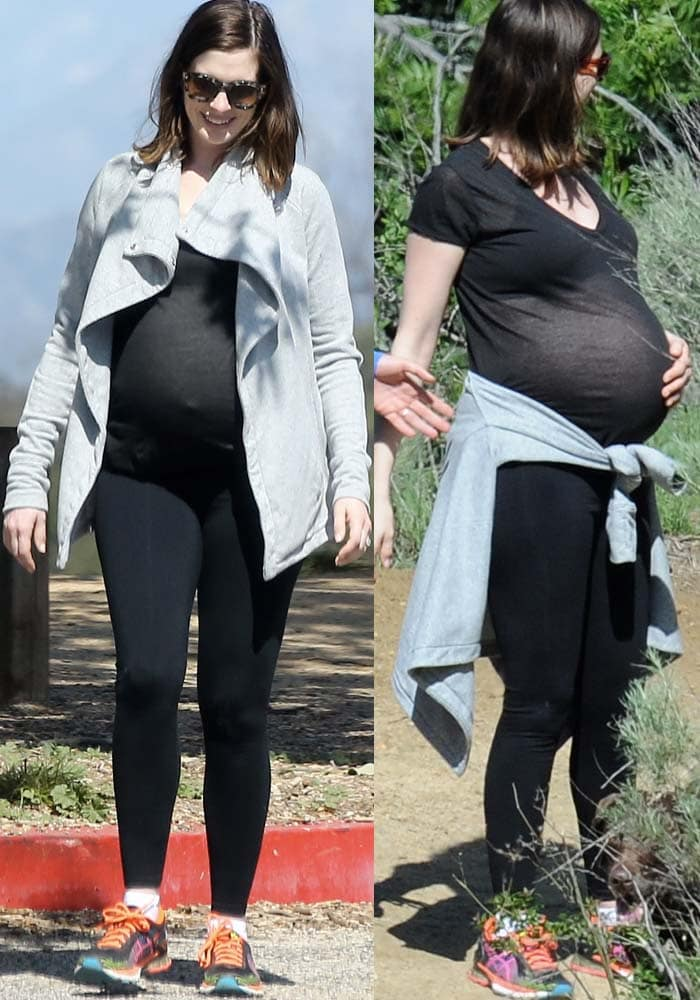 Anne Hathaway Pregnant Hiking Asics 2