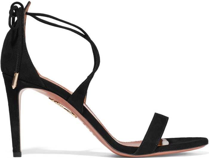 Black Aquazzura 'Linda' Suede Sandals