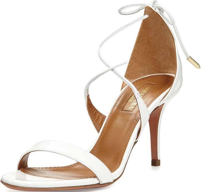 White Aquazzura 'Linda' Patent Sandals