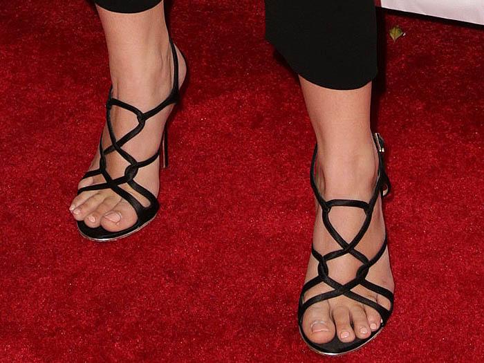 Ariel Winter Salvatore Ferragamo twisted satin sandals