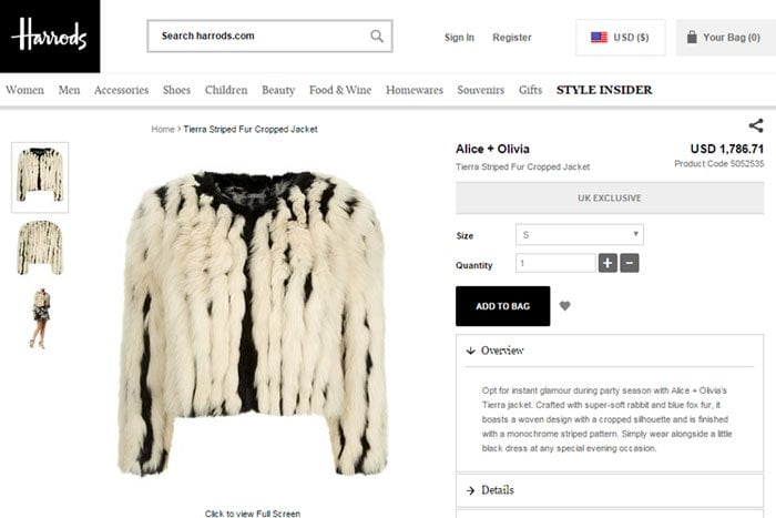 """The Alice + Olivia """"Tierra"""" fur jacket that Bella Thorne mistakenly claimed was faux fur"""
