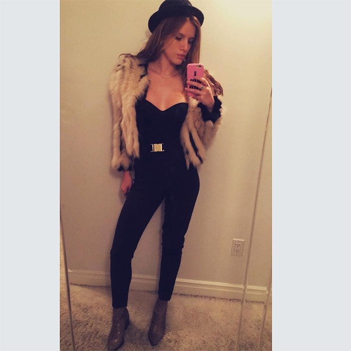 Bella Thorne wears a jacket made from super soft rabbit and blue fox fur