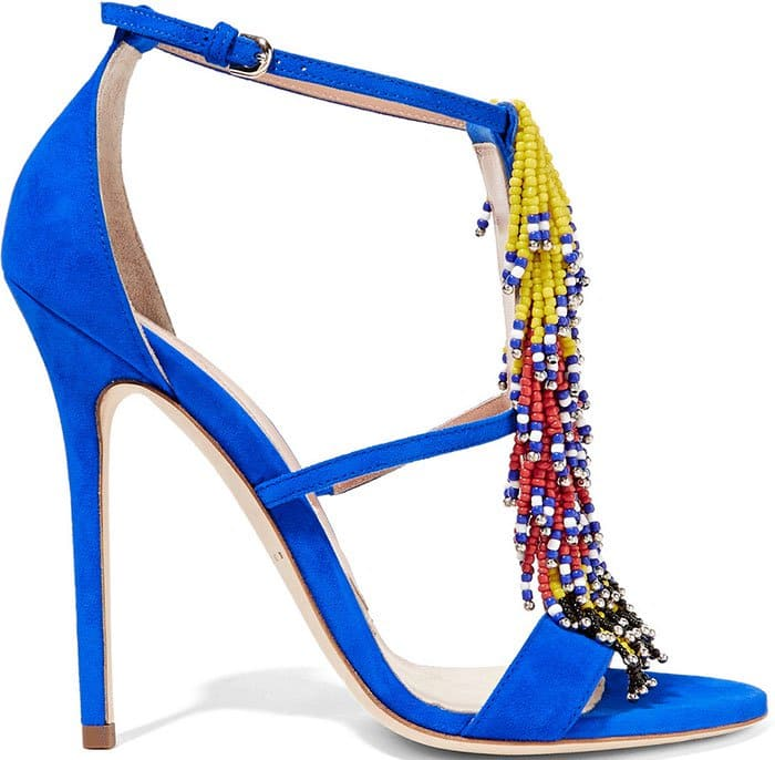 Brian Atwood's statement-making bright blue Iliana fringed suede sandals
