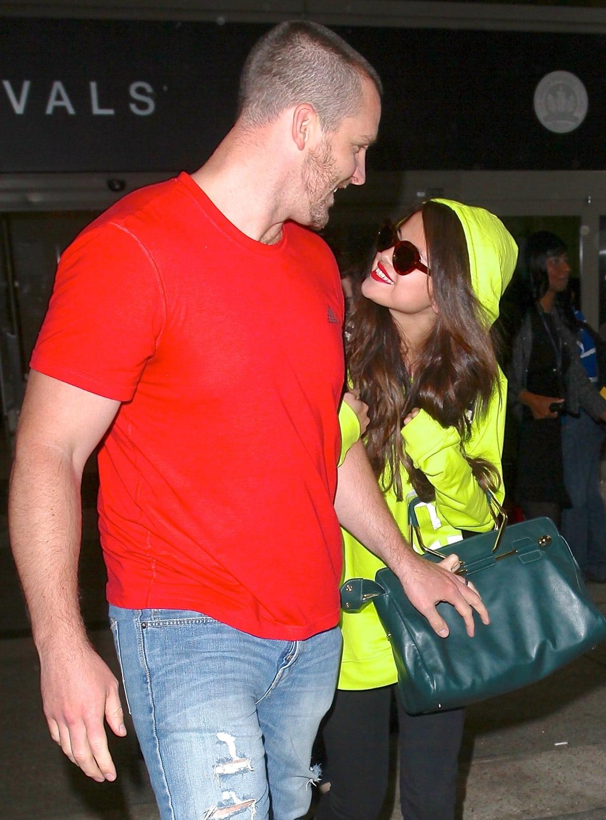 Selena Gomez with her stepdad Brian James Teefey