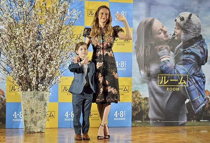 """Brie Larson and Jacob Tremblay at a press conference for """"Room"""" held at The Ritz-Carlton in Tokyo, Japan on March 22, 2016"""