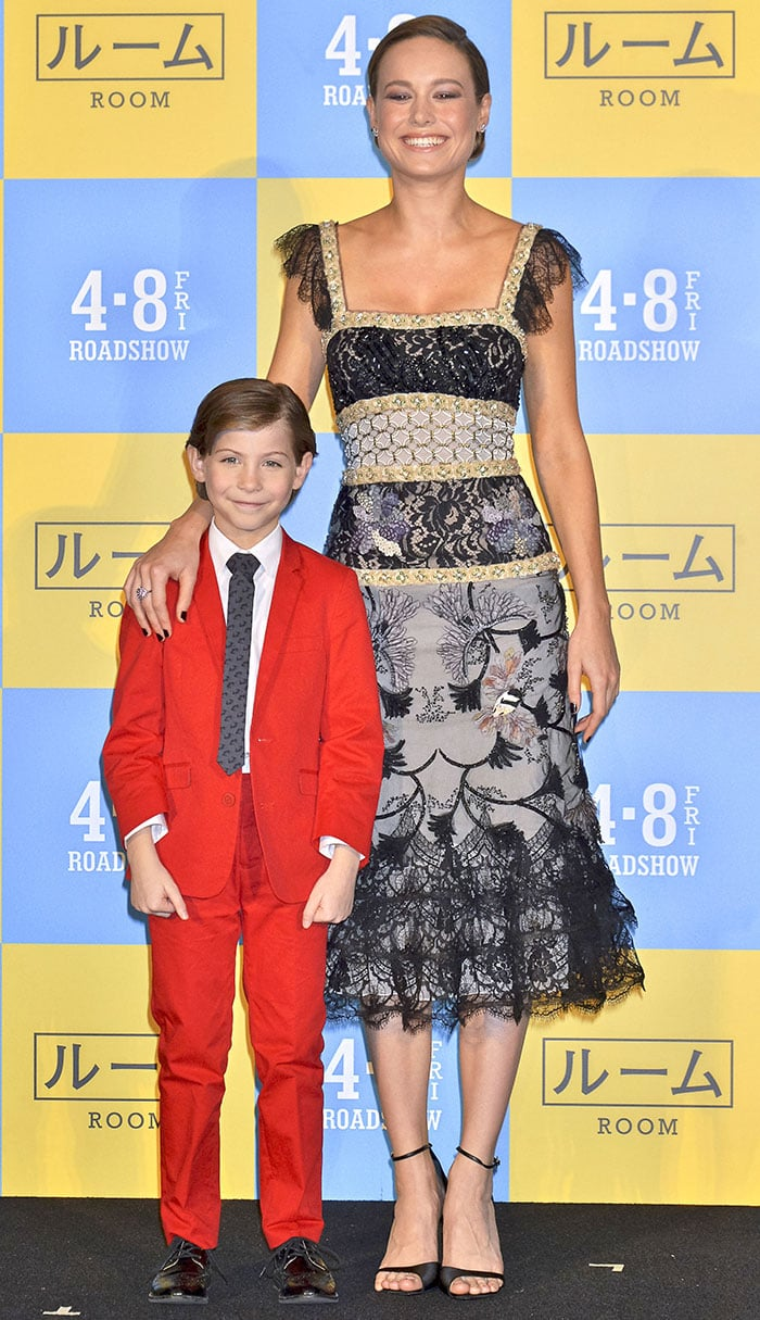 """Brie Larson and Jacob Tremblay at the Japanese premiere of """"Room"""" at Roppongi Hills in Tokyo, Japan on March 21, 2016"""