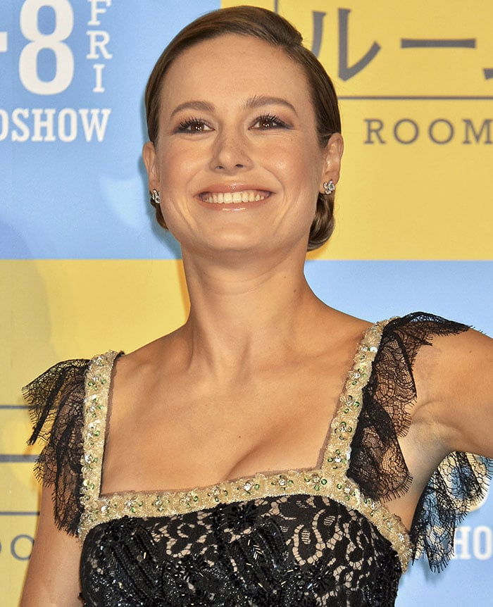 Brie Larson's hand-beaded and hand-painted lace embroidered dress from Rodarte