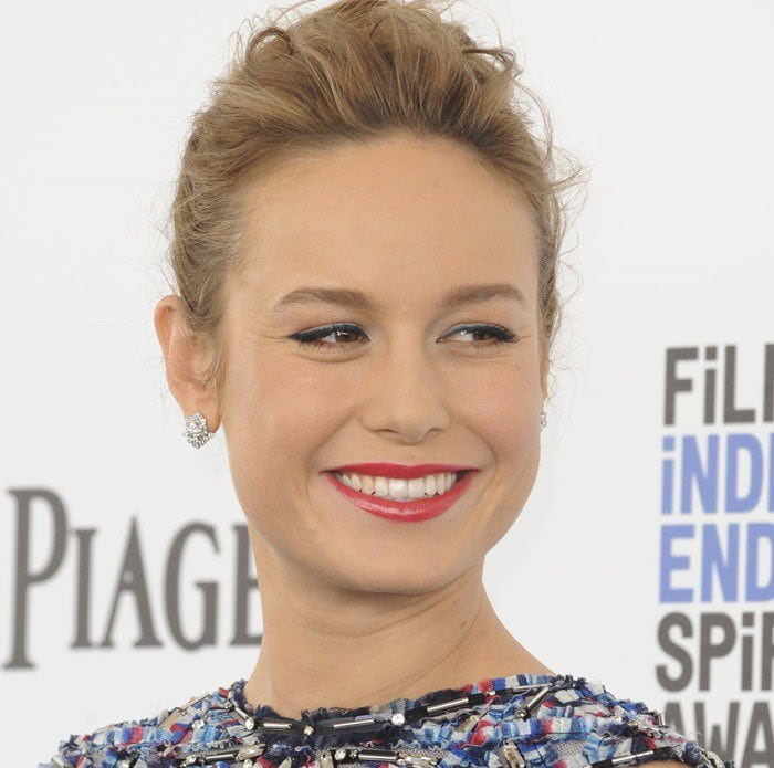 Brie Larson looks lovely in a Chanel dress while walking the carpet at the 2016 Film Independent Spirit Awards in Santa Monica on February 27, 2016
