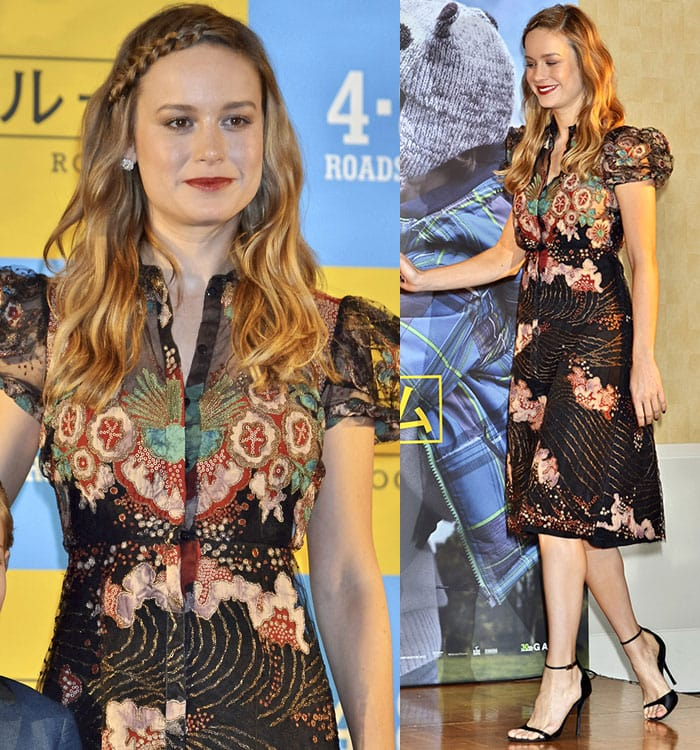 Brie Larson in an Asian-inspired black lace dress from Valentino