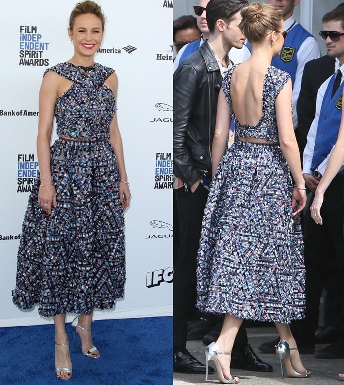 Brie Larson did not fail to turn heads in an embellished top and matching skirt from the Chanel Spring 2016 Collection