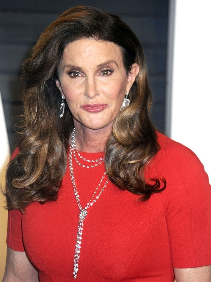 Caitlyn Jenner's stunning crystal drop necklace at the Elton John AIDS Foundation Annual Oscar Viewing Party