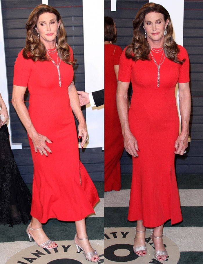 Caitlyn Jenner flaunts her toned legs in an eye-catching ankle-grazing red dress